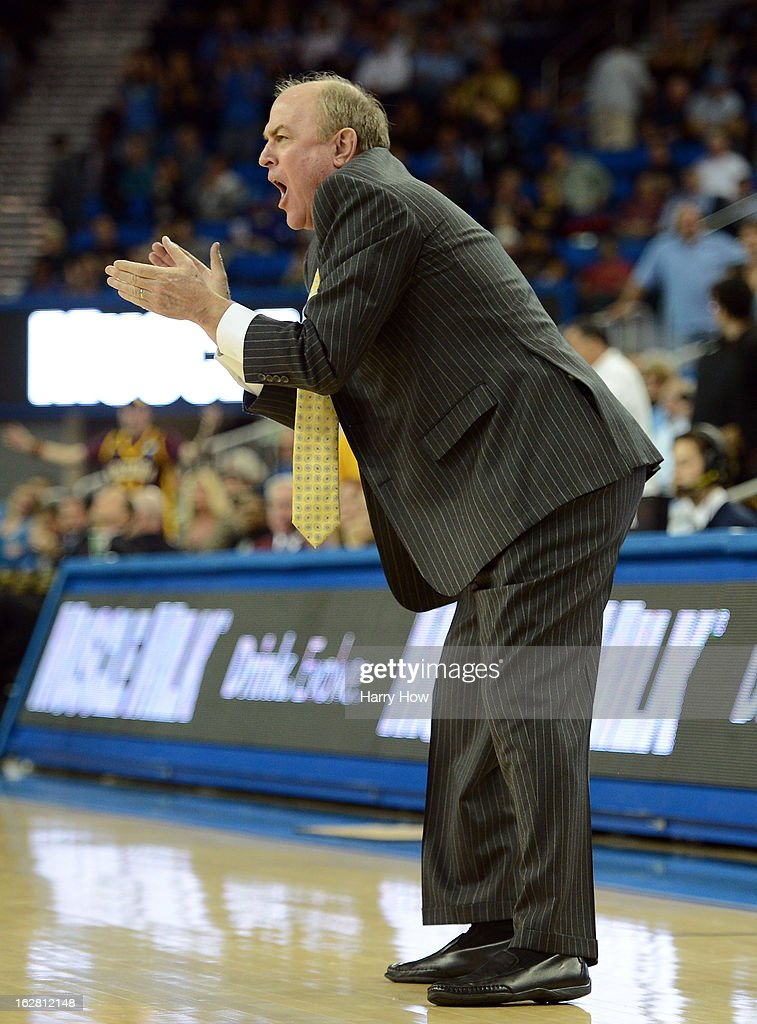Head coach Ben Howland of the UCLA Bruins reacts to a basket in the final minute of the game during a 79-74 UCLA win over the Arizona State Sun Devils at Pauley Pavilion on February 27, 2013 in Los Angeles, California.
