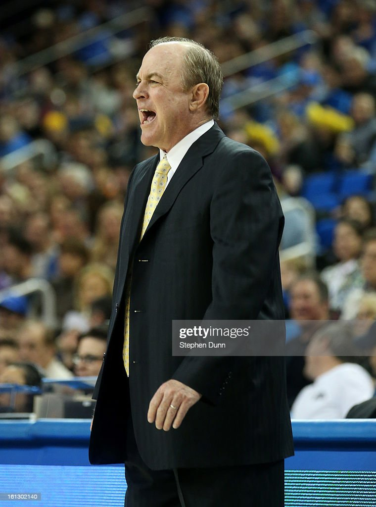 Head coach <a gi-track='captionPersonalityLinkClicked' href=/galleries/search?phrase=Ben+Howland&family=editorial&specificpeople=213373 ng-click='$event.stopPropagation()'>Ben Howland</a> of the UCLA Bruins shouts instructions during the game with the Washington State Cougars at Pauley Pavilion on February 9, 2013 in Los Angeles, California. UCLA won 76-62.