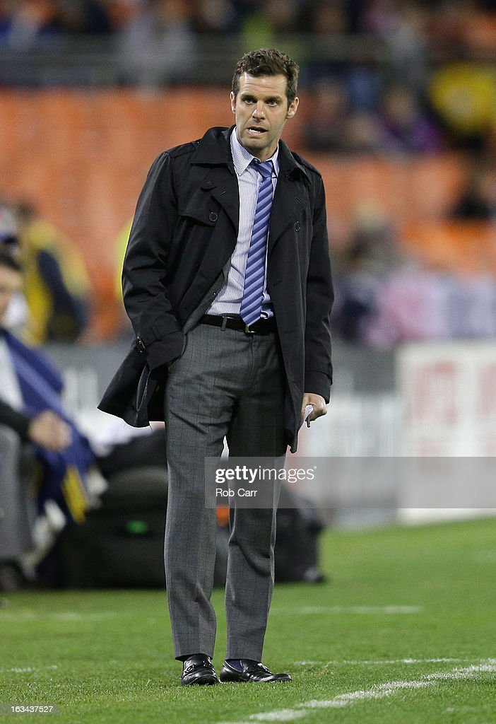 Head coach <a gi-track='captionPersonalityLinkClicked' href=/galleries/search?phrase=Ben+Olsen&family=editorial&specificpeople=733816 ng-click='$event.stopPropagation()'>Ben Olsen</a> of D.C. United looks on during the second half against the Real Salt Lake at RFK Stadium on March 9, 2013 in Washington, DC.