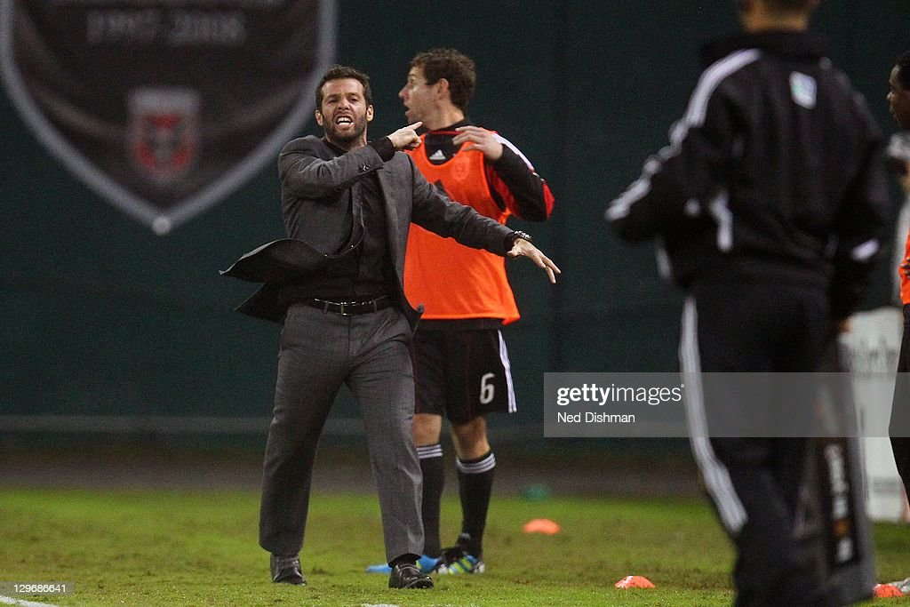 Head coach <a gi-track='captionPersonalityLinkClicked' href=/galleries/search?phrase=Ben+Olsen&family=editorial&specificpeople=733816 ng-click='$event.stopPropagation()'>Ben Olsen</a> of D.C. United reacts after a call against the Portland Timbers at RFK Stadium on October 19, 2011 in Washington, DC.