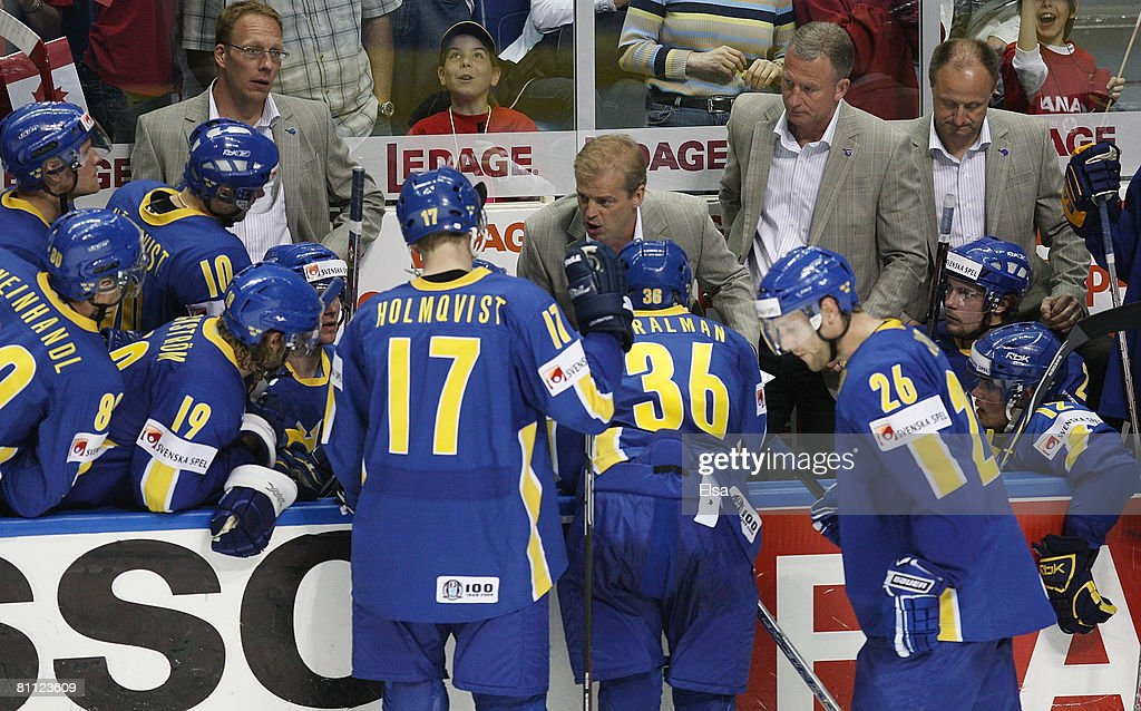 Head coach BengtAke Gustafsson of Sweden talks with his players during a time out in the final minute of the game against Canada during the Semifinal...