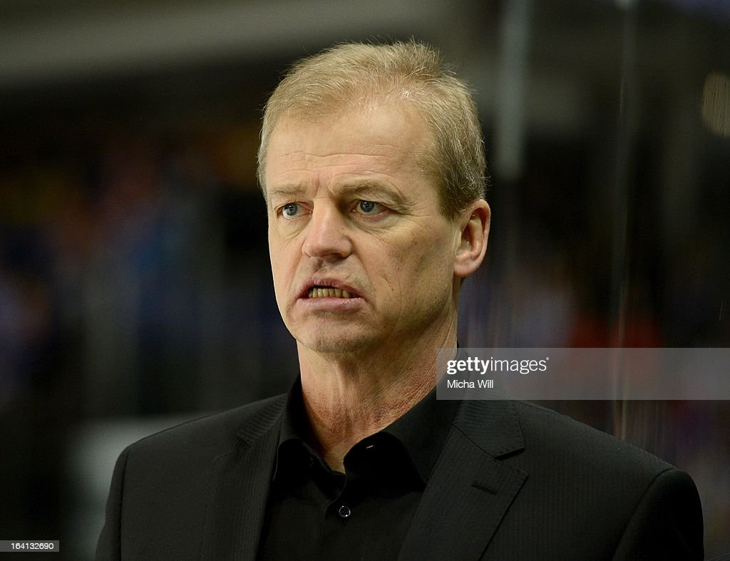 Head Coach BengtAke Gustafsson of the Thomas Sabo Ice Tigers looks on during game three of the DEL preplayoffs between Thomas Sabo Ice Tigers and...