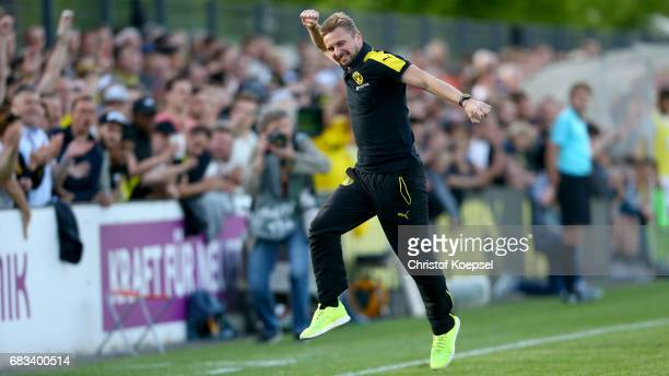 Head coach Benjamin Hoffmann of Dortmund celebrates after winning the U19 German Championship Semi Final second leg match between Borussia Dortmund...