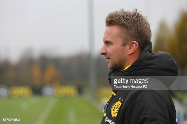 Head coach Benjamin Hoffmann of Dortmund looks on prior to the UEFA Youth League match between Borussia Dortmund and Tottenham Hotspur at Training...