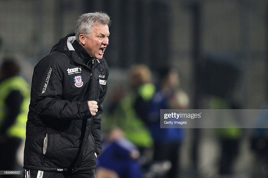 Head coach Benno Moehlmann celebrates his team's third goal during the Second Bundesliga match between FSV Frankfurt and VfR Aalen at Frankfurter Volksbank Stadium on March 8, 2013 in Frankfurt am Main, Germany.