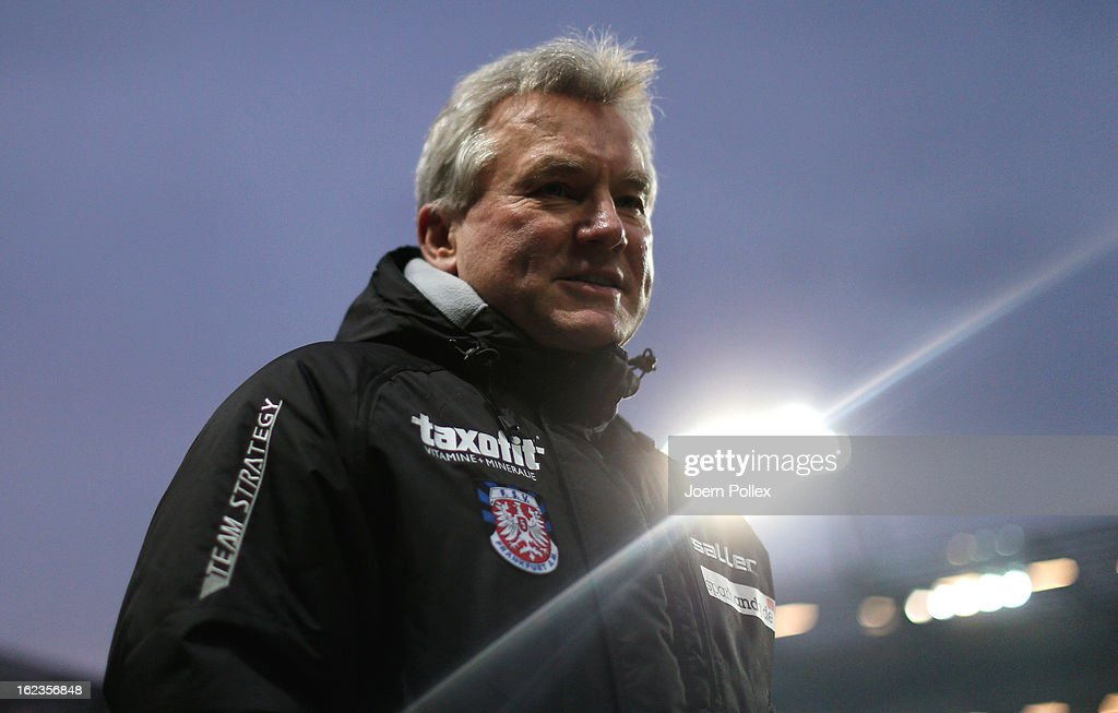 Head coach Benno Moehlmann of Frankfurt looks on prior to the Second Bundesliga match between 1. FC St. Pauli and FSV Frankfurt 1899 at Millerntor Stadium on February 22, 2013 in Hamburg, Germany.