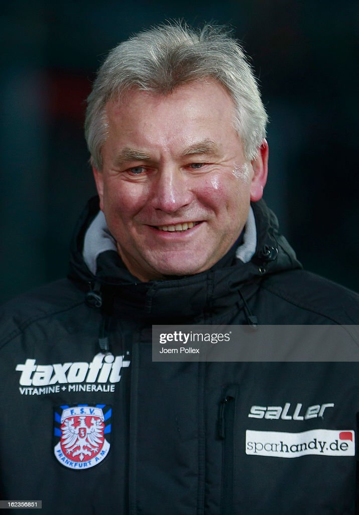 Head coach Benno Moehlmann of Frankfurt smiles prior to the Second Bundesliga match between 1. FC St. Pauli and FSV Frankfurt 1899 at Millerntor Stadium on February 22, 2013 in Hamburg, Germany.