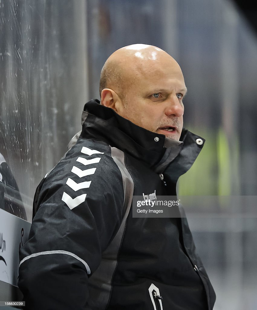 Head Coach Benoit Laporte of Hamburg Freezers during the DEL ice hockey game between Red Bull Muenchen and Hamburg Freezers at Olympia Eishalle on December 28, 2012 in Munich, Germany.