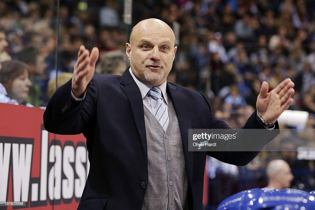Head coach Benoit Laporte of Hamburg reacts during the DEL 1 Bundesliga match between Hamburg and Cologne at O2 World on December 7, 2012 in Hamburg, Germany.