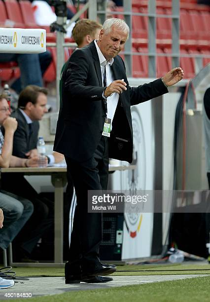 Head coach Bernard Challandes of Armenia reacts during the international friendly match between Germany and Armenia at Coface Arena on June 6 2014 in...