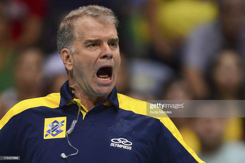 Head coach Bernardinho of the Brazilian team, gestures during a match between Brazil and USA as part of the FIVB Volleyball World League 2013 at the Maracanazinho Stadium on July 14, 2013 in Rio de Janeiro, Brazil.