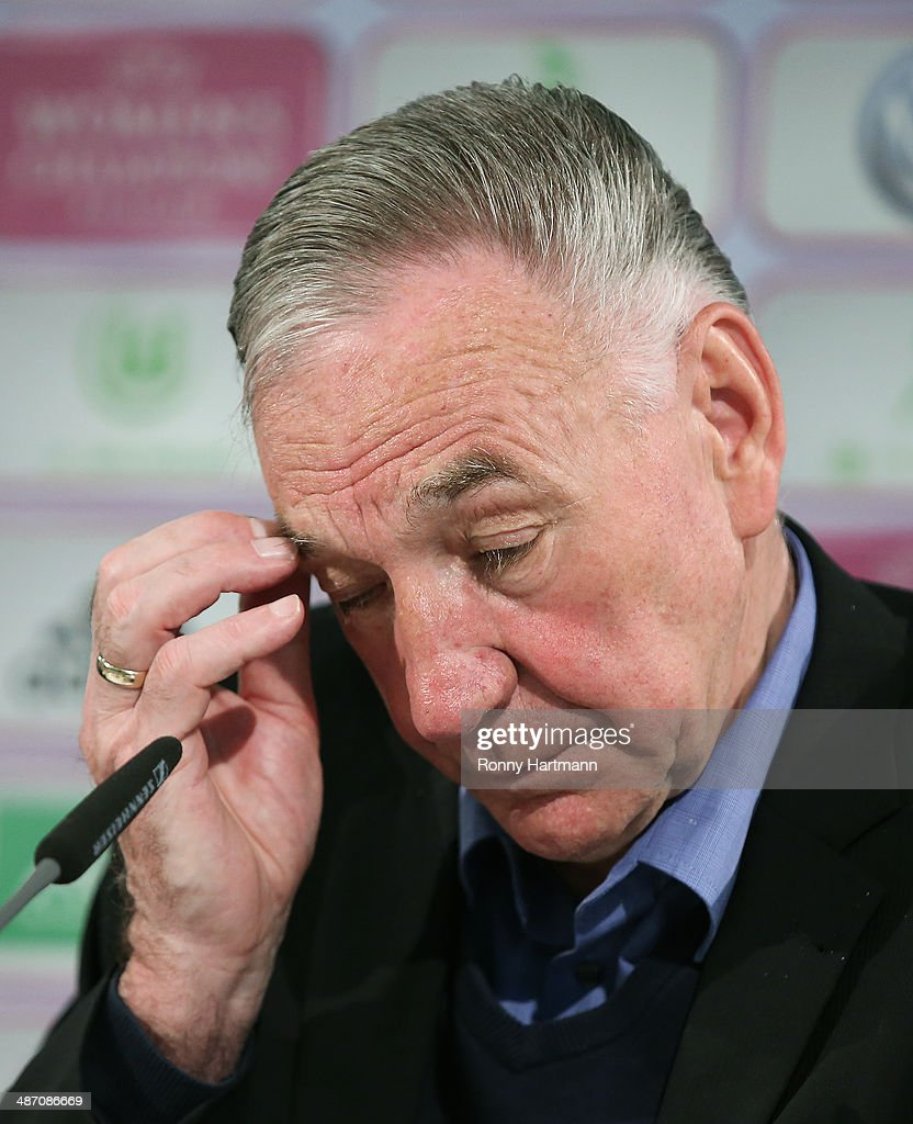 Head coach Bernd Schroeder of Potsdam reacts during the press conference after the second UEFA Women's Champions League semi final match between VfL Wolfsburg and 1. FFC Turbine Potsdam at Volkswagen Arena on April 27, 2014 in Wolfsburg, Germany.