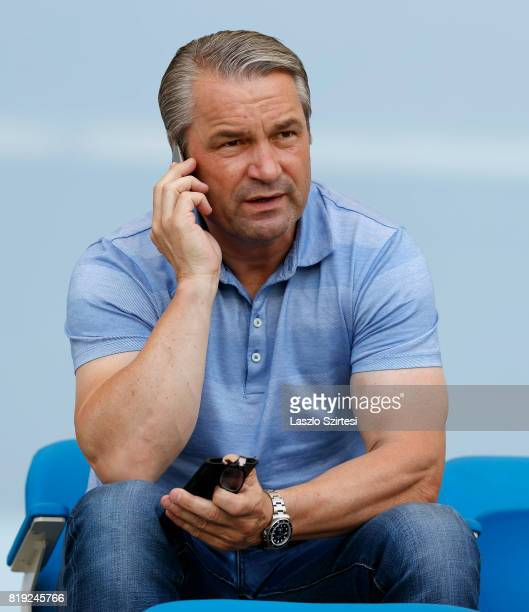 Head coach Bernd Storck of Hungarian National Team gives a call during the Preseason Friendly match between MTK Budapest II and FC Liverpool U23 at...