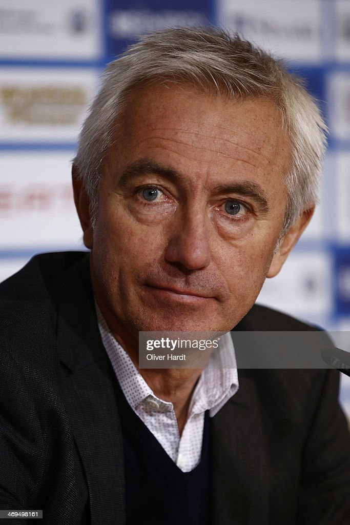 Head coach Bert van Marwijk of Hamburg during the press conference after the Bundesliga match between Eintracht Braunschweig and Hamburger SV at Eintracht Stadion on February 15, 2014 in Braunschweig, Germany.