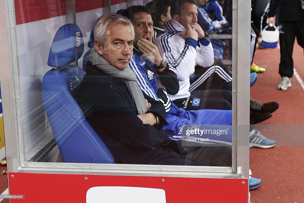 Head coach Bert van Marwijk of Hamburg looks on prior to the Bundesliga match between Eintracht Braunschweig and Hamburger SV at Eintracht Stadion on February 15, 2014 in Braunschweig, Germany.