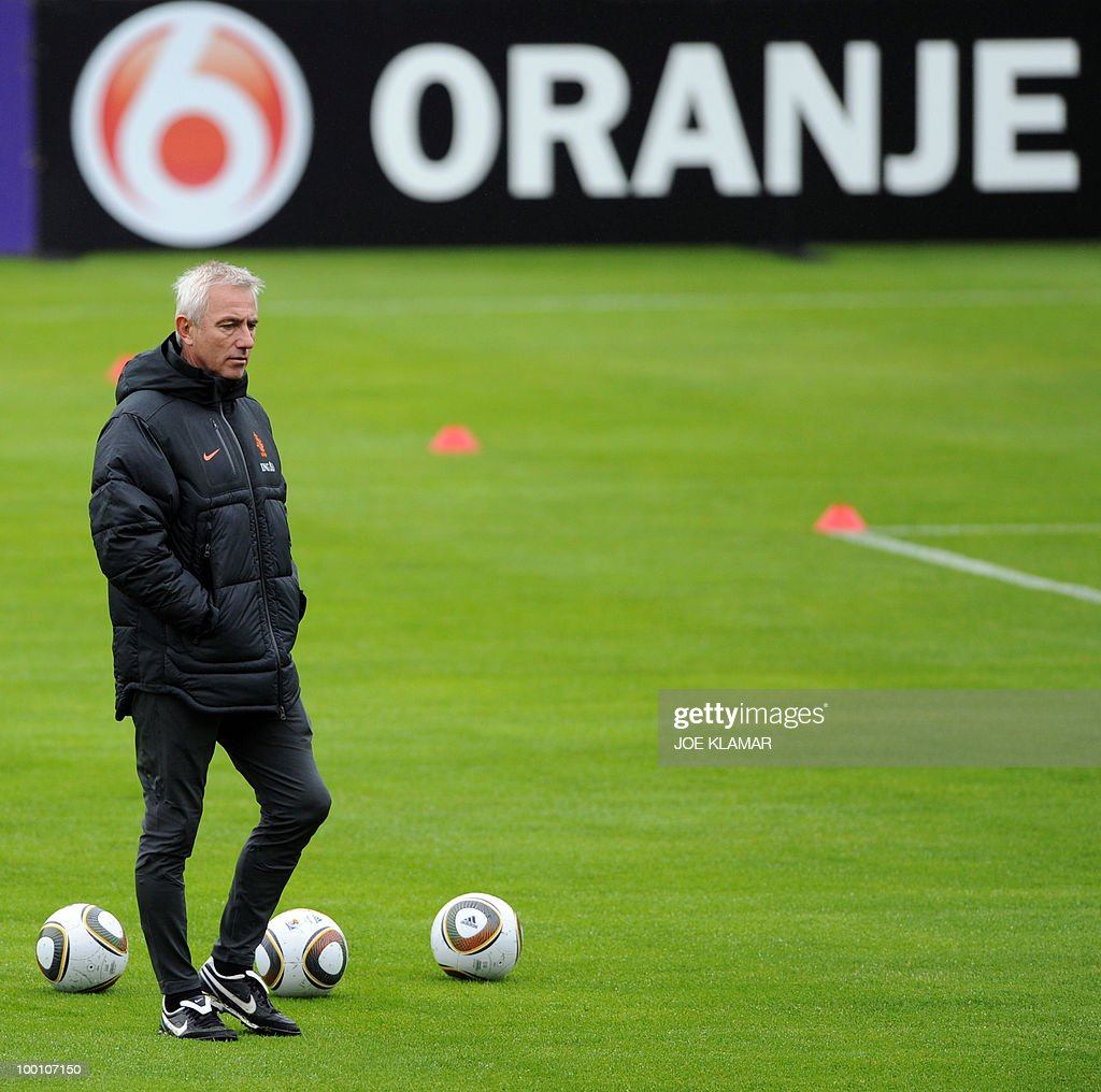 Head coach Bert Van Marwijk of the Netherland football team watches players during their first training session at the training camp in Tyrolian village of Seefeld in Austria on May 20, 2010 prior to the FIFA World Cup 2010 in South Africa.