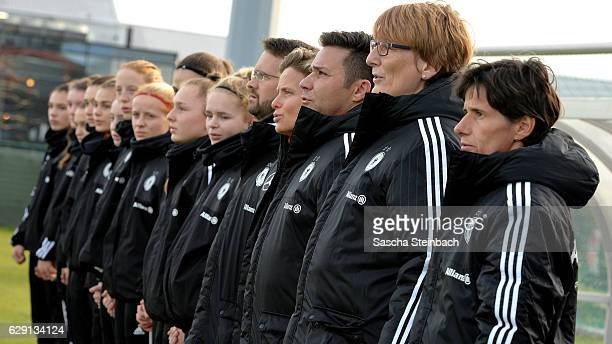 Head coach Bettina Wiegmann assistant coach Carmen Holinka and goalkeeper coach Joerg Vesper of Germany look on prior to the U15 Girl's international...