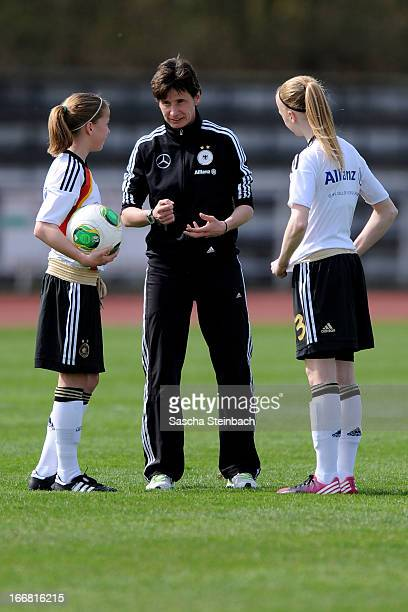 Head coach Bettina Wiegmann gives instructions prior to the International friendly match between U15 Germany and U16 Netherlands at Huelsparkstadion...