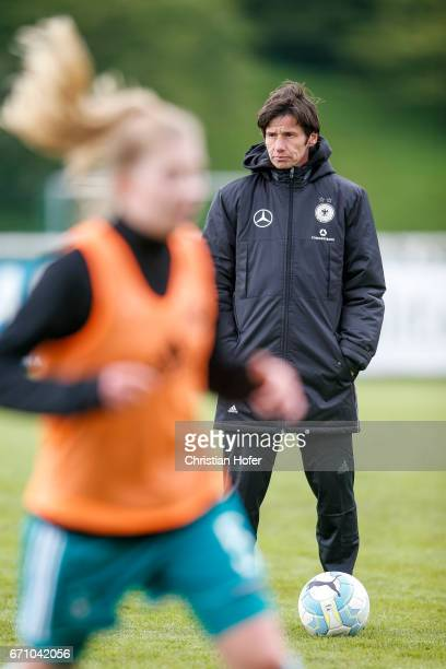 Head coach Bettina Wiegmann of Germany is seen during the warm up session prior to the Under 15 girls international friendly match between Czech...