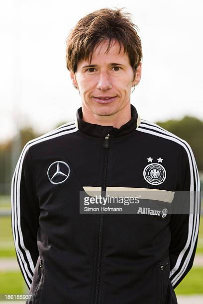 Head coach Bettina Wiegmann of Germany poses during the German Girls U15 national team presentation at Wiener Ring training ground on October 29 2013...