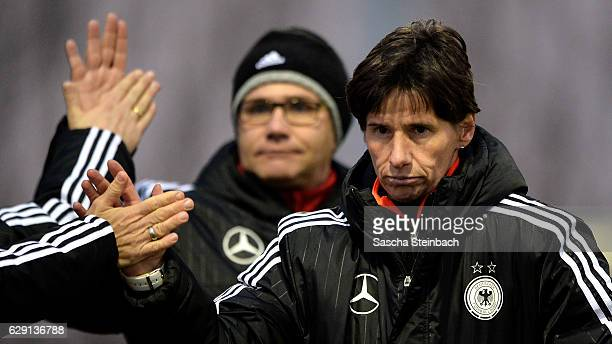 Head coach Bettina Wiegmann of Germany reacts after the U15 Girl's international friendly match between Belgium and Germany on December 11 2016 in...