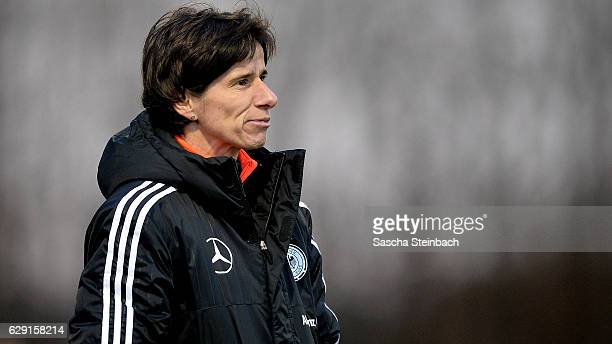 Head coach Bettina Wiegmann of Germany reacts during the U15 Girl's international friendly match between Belgium and Germany on December 11 2016 in...