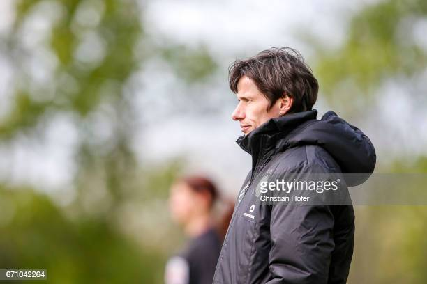 Head coach Bettina Wiegmann of Germany reacts on the touchline during the Under 15 girls international friendly match between Czech Republic and...