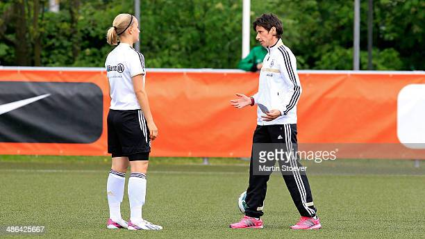 Head coach Bettina Wiegmann of U15 Girl's Germany talks to one of her players during the match between U15 Girl's Netherlands v U15 Girl's Germany at...