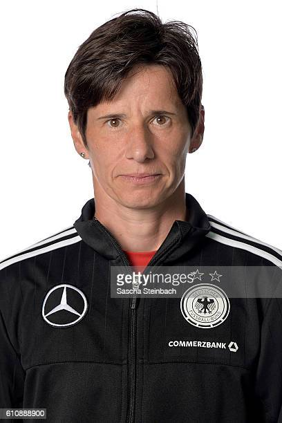 Head coach Bettina Wiegmann poses during the Germany U15 Girl's team presentation on September 27 2016 in Kamen Germany