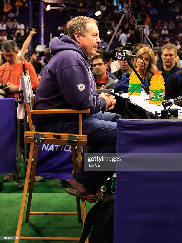 Head coach <a gi-track='captionPersonalityLinkClicked' href=/galleries/search?phrase=Bill+Belichick&family=editorial&specificpeople=201822 ng-click='$event.stopPropagation()'>Bill Belichick</a> of the New England Patriots addresses the media at Super Bowl XLIX Media Day Fueled by Gatorade inside U.S. Airways Center on January 27, 2015 in Phoenix, Arizona.