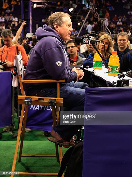Head coach Bill Belichick of the New England Patriots addresses the media at Super Bowl XLIX Media Day Fueled by Gatorade inside US Airways Center on...