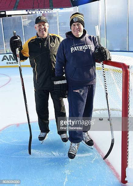 Head Coach Bill Belichick of the New England Patriots and head coach Claude Julien of the Boston Bruins skate before team practices prior to the 2016...