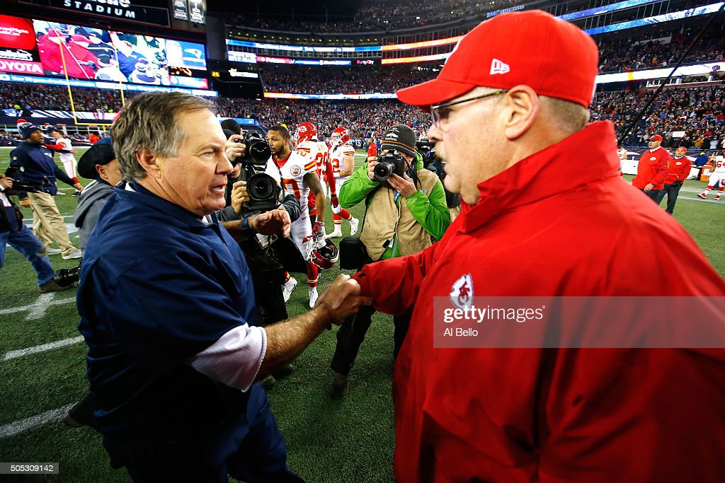 Head coach <a gi-track='captionPersonalityLinkClicked' href=/galleries/search?phrase=Bill+Belichick&family=editorial&specificpeople=201822 ng-click='$event.stopPropagation()'>Bill Belichick</a> of the New England Patriots and head coach <a gi-track='captionPersonalityLinkClicked' href=/galleries/search?phrase=Andy+Reid+-+Coach&family=editorial&specificpeople=204475 ng-click='$event.stopPropagation()'>Andy Reid</a> of the Kansas City Chiefs shake hands after the AFC Divisional Playoff Game at Gillette Stadium on January 16, 2016 in Foxboro, Massachusetts. The Patriots defeated the Chiefs 27-20.