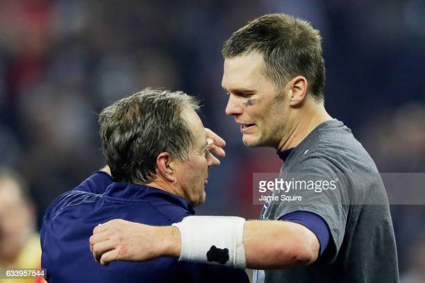 Head coach Bill Belichick of the New England Patriots and Tom Brady celebrate after winning 3428 over the Atlanta Falcons in Super Bowl 51 at NRG...