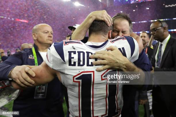 Head coach Bill Belichick of the New England Patriots celebrates with Julian Edelman after the Patriots defeat the Atlanta Falcons 3428 during Super...
