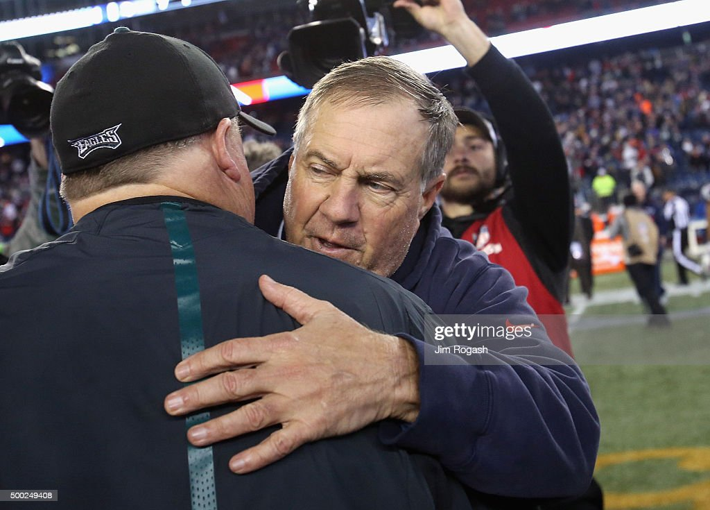 Head coach <a gi-track='captionPersonalityLinkClicked' href=/galleries/search?phrase=Bill+Belichick&family=editorial&specificpeople=201822 ng-click='$event.stopPropagation()'>Bill Belichick</a> of the New England Patriots greets head coach <a gi-track='captionPersonalityLinkClicked' href=/galleries/search?phrase=Chip+Kelly&family=editorial&specificpeople=6161242 ng-click='$event.stopPropagation()'>Chip Kelly</a> of the Philadelphia Eagles after their game at Gillette Stadium on December 6, 2015 in Foxboro, Massachusetts. The Philadelphia Eagles defeated the New England Patriots with a score of 35-28.