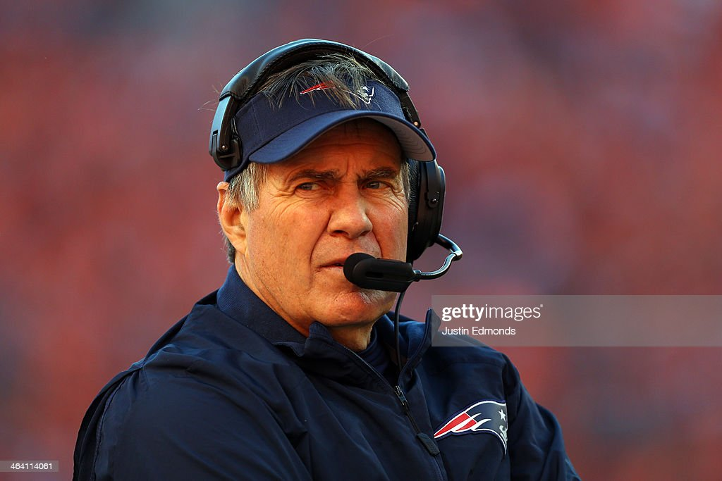 Head coach <a gi-track='captionPersonalityLinkClicked' href=/galleries/search?phrase=Bill+Belichick&family=editorial&specificpeople=201822 ng-click='$event.stopPropagation()'>Bill Belichick</a> of the New England Patriots looks on against the Denver Broncos during the AFC Championship game at Sports Authority Field at Mile High on January 19, 2014 in Denver, Colorado.