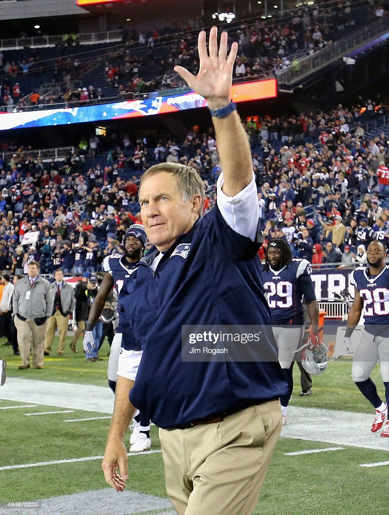 Head coach Bill Belichick of the New England Patriots reacts after a game against the Miami Dolphins at Gillette Stadium on October 29, 2015 in Foxboro, Massachusetts.