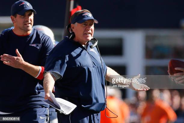 Head coach Bill Belichick of the New England Patriots reacts during the game against the Carolina Panthers at Gillette Stadium on October 1 2017 in...