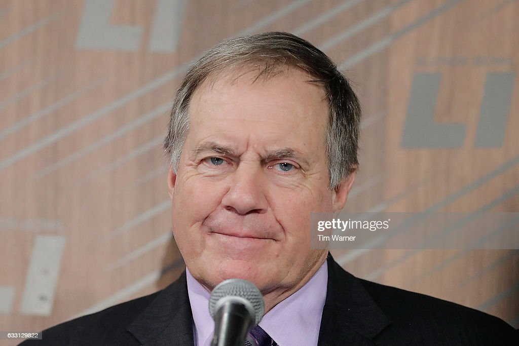 Head coach Bill Belichick of the New England Patriots speaks with the media during Super Bowl 51 Opening Night at Minute Maid Park on January 30, 2017 in Houston, Texas.