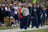 Head coach Bill Belichick of the New England Patriots stands on the sidelines during the second quarter at Lambeau Field on November 30 2014 in Green...