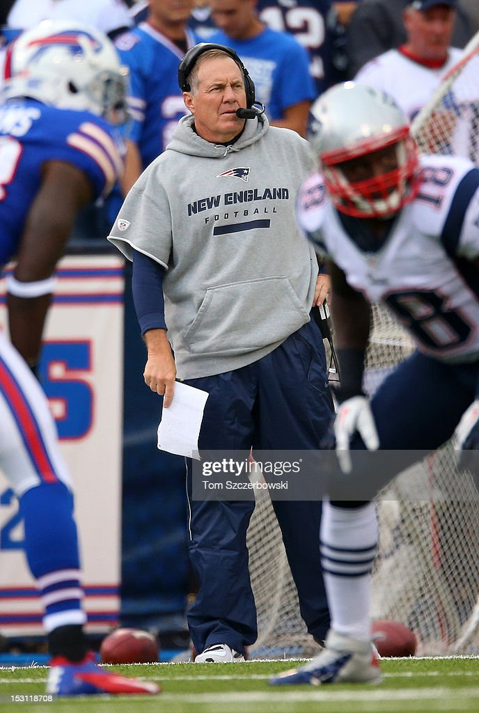 Head coach <a gi-track='captionPersonalityLinkClicked' href=/galleries/search?phrase=Bill+Belichick&family=editorial&specificpeople=201822 ng-click='$event.stopPropagation()'>Bill Belichick</a> of the New England Patriots watches from the sideline during an NFL game against the Buffalo Bills at Ralph Wilson Stadium on September 30, 2012 in Orchard Park, New York.