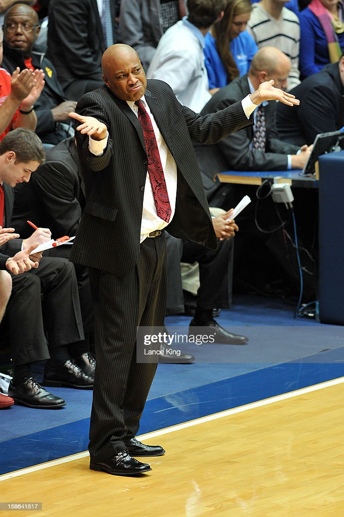 Head Coach Bill Courtney of the Cornell Big Red gestures from the sideline against the Duke Blue Devils at Cameron Indoor Stadium on December 19, 2012 in Durham, North Carolina. Duke defeated Cornell 88-47.
