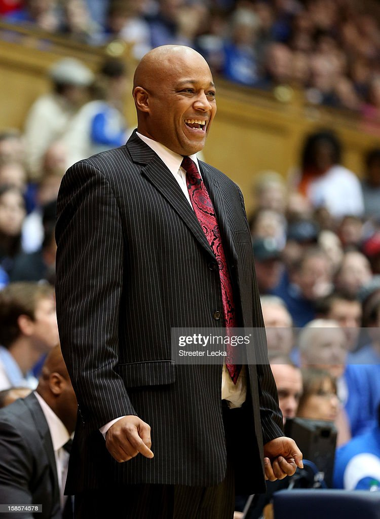 Head coach Bill Courtney of the Cornell Big Red reacts to his team during their game against the Duke Blue Devils at Cameron Indoor Stadium on December 19, 2012 in Durham, North Carolina.