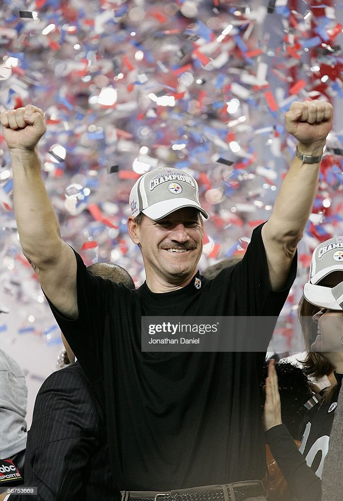 Head coach Bill Cowher of the Pittsburgh Steelers celebrates after defeating the Seattle Seahawks in Super Bowl XL at Ford Field on February 5, 2006 in Detroit, Michigan.The Steelers defeated the Seahawks 21-10.