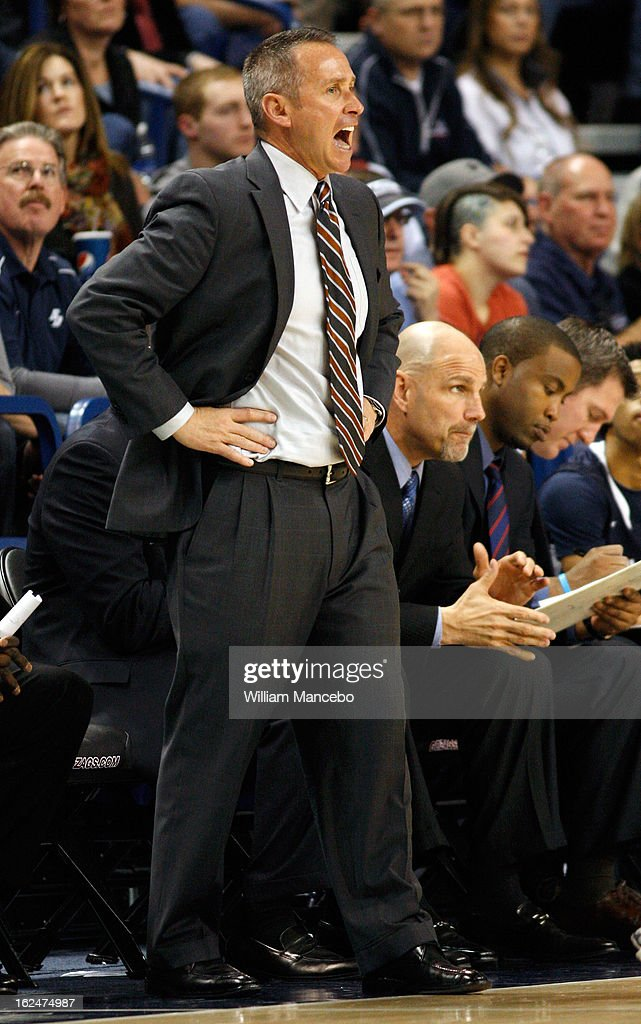 Head coach Bill Grier of the San Diego Toreros directs his team from the sideline during the game against the Gonzaga Bulldogs at McCarthey Athletic Center on February 23, 2013 in Spokane, Washington.