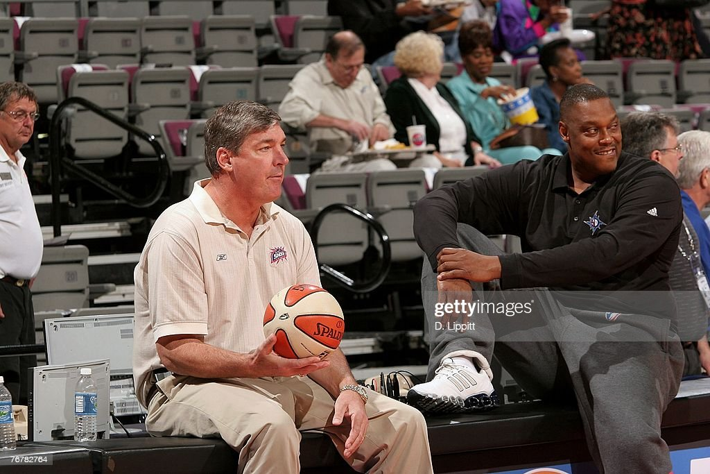 Head Coach Bill Laimbeer and Assistant Coach Rick Mahorn during warmups before Game Five of the WNBA Finals against the Phoenix Mercury at The Palace...