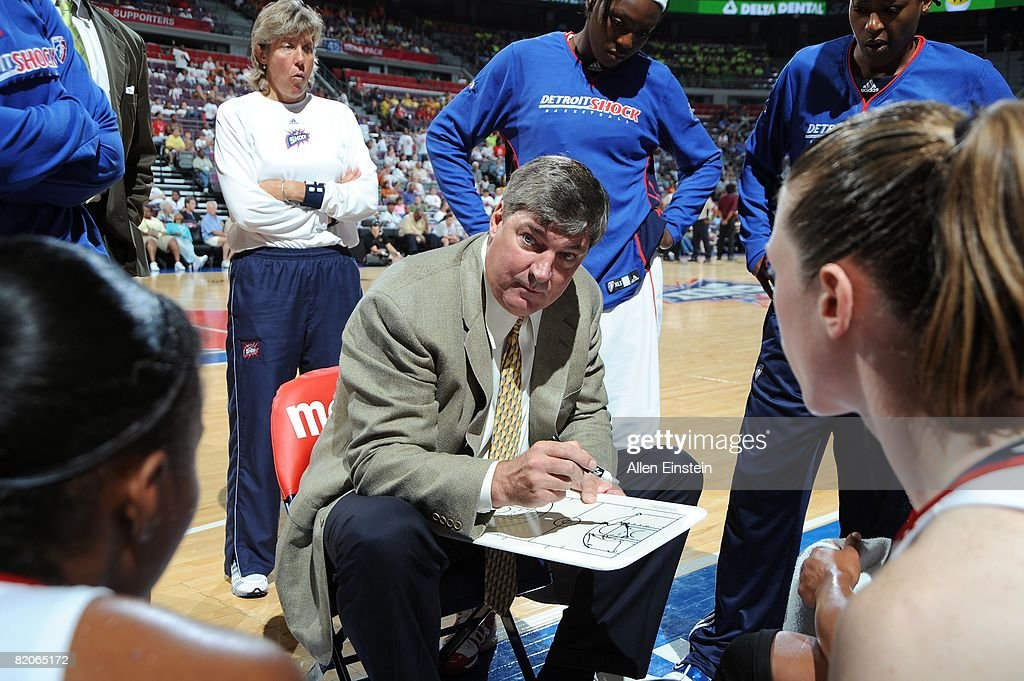 Head coach Bill Laimbeer of the Detroit Shock designs a play during a timeout against the Chicago Sky during the WNBA game on July 16 2008 at The...