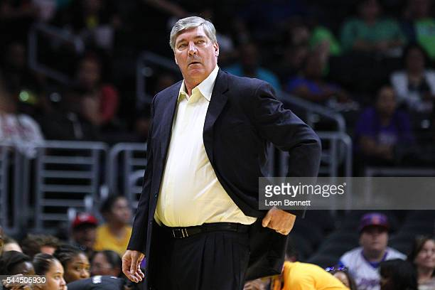 Head coach Bill Laimbeer of the New York Liberity directs his team against the Los Angeles Sparks during a WNBA basketball game at Staples Center on...