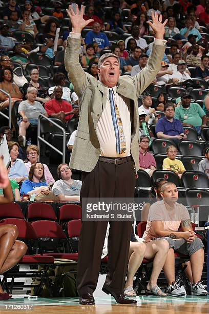 Head Coach Bill Laimbeer of the New York Liberty cheers during a game against the San Antonio Silver Stars on June 23 2013 at the Prudential Center...